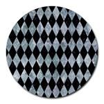 DIAMOND1 BLACK MARBLE & ICE CRYSTALS Round Mousepads