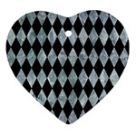DIAMOND1 BLACK MARBLE & ICE CRYSTALS Ornament (Heart)