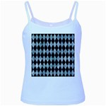 DIAMOND1 BLACK MARBLE & ICE CRYSTALS Baby Blue Spaghetti Tank