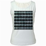 DIAMOND1 BLACK MARBLE & ICE CRYSTALS Women s White Tank Top
