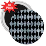 DIAMOND1 BLACK MARBLE & ICE CRYSTALS 3  Magnets (10 pack)