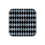 DIAMOND1 BLACK MARBLE & ICE CRYSTALS Rubber Coaster (Square)