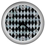 DIAMOND1 BLACK MARBLE & ICE CRYSTALS Wall Clocks (Silver)