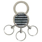 DIAMOND1 BLACK MARBLE & ICE CRYSTALS 3-Ring Key Chains