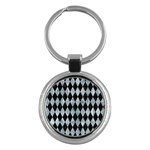 DIAMOND1 BLACK MARBLE & ICE CRYSTALS Key Chains (Round)