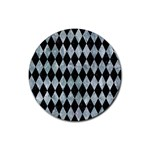 DIAMOND1 BLACK MARBLE & ICE CRYSTALS Rubber Coaster (Round)