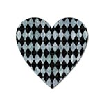 DIAMOND1 BLACK MARBLE & ICE CRYSTALS Heart Magnet