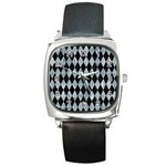 DIAMOND1 BLACK MARBLE & ICE CRYSTALS Square Metal Watch