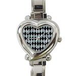DIAMOND1 BLACK MARBLE & ICE CRYSTALS Heart Italian Charm Watch