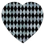 DIAMOND1 BLACK MARBLE & ICE CRYSTALS Jigsaw Puzzle (Heart)