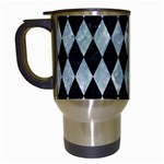 DIAMOND1 BLACK MARBLE & ICE CRYSTALS Travel Mugs (White)