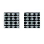 DIAMOND1 BLACK MARBLE & ICE CRYSTALS Cufflinks (Square)