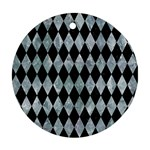 DIAMOND1 BLACK MARBLE & ICE CRYSTALS Round Ornament (Two Sides)