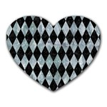 DIAMOND1 BLACK MARBLE & ICE CRYSTALS Heart Mousepads