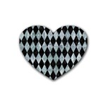DIAMOND1 BLACK MARBLE & ICE CRYSTALS Rubber Coaster (Heart)
