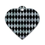 DIAMOND1 BLACK MARBLE & ICE CRYSTALS Dog Tag Heart (Two Sides)