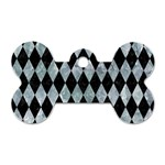 DIAMOND1 BLACK MARBLE & ICE CRYSTALS Dog Tag Bone (Two Sides)