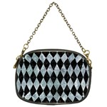 DIAMOND1 BLACK MARBLE & ICE CRYSTALS Chain Purses (One Side)