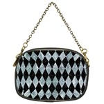 DIAMOND1 BLACK MARBLE & ICE CRYSTALS Chain Purses (Two Sides)