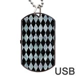 DIAMOND1 BLACK MARBLE & ICE CRYSTALS Dog Tag USB Flash (One Side)