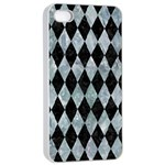 DIAMOND1 BLACK MARBLE & ICE CRYSTALS Apple iPhone 4/4s Seamless Case (White)