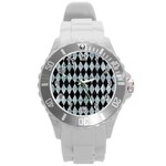 DIAMOND1 BLACK MARBLE & ICE CRYSTALS Round Plastic Sport Watch (L)