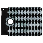 DIAMOND1 BLACK MARBLE & ICE CRYSTALS Apple iPad Mini Flip 360 Case