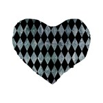 DIAMOND1 BLACK MARBLE & ICE CRYSTALS Standard 16  Premium Heart Shape Cushions