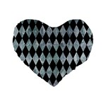 DIAMOND1 BLACK MARBLE & ICE CRYSTALS Standard 16  Premium Flano Heart Shape Cushions