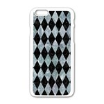 DIAMOND1 BLACK MARBLE & ICE CRYSTALS Apple iPhone 6/6S White Enamel Case
