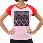 DAMASK1 BLACK MARBLE & ICE CRYSTALS Women s Cap Sleeve T-Shirt