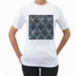 DAMASK1 BLACK MARBLE & ICE CRYSTALS Women s T-Shirt (White) (Two Sided)