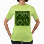 DAMASK1 BLACK MARBLE & ICE CRYSTALS Women s Green T-Shirt