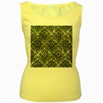 DAMASK1 BLACK MARBLE & ICE CRYSTALS Women s Yellow Tank Top