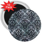 DAMASK1 BLACK MARBLE & ICE CRYSTALS 3  Magnets (10 pack)