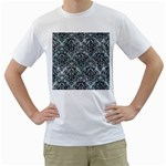 DAMASK1 BLACK MARBLE & ICE CRYSTALS Men s T-Shirt (White) (Two Sided)