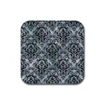 DAMASK1 BLACK MARBLE & ICE CRYSTALS Rubber Square Coaster (4 pack)