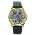 DAMASK1 BLACK MARBLE & ICE CRYSTALS Round Gold Metal Watch