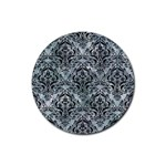 DAMASK1 BLACK MARBLE & ICE CRYSTALS Rubber Round Coaster (4 pack)
