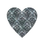 DAMASK1 BLACK MARBLE & ICE CRYSTALS Heart Magnet