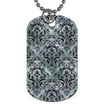 DAMASK1 BLACK MARBLE & ICE CRYSTALS Dog Tag (One Side)