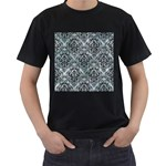 DAMASK1 BLACK MARBLE & ICE CRYSTALS Men s T-Shirt (Black) (Two Sided)