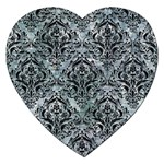 DAMASK1 BLACK MARBLE & ICE CRYSTALS Jigsaw Puzzle (Heart)