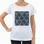 DAMASK1 BLACK MARBLE & ICE CRYSTALS Women s Loose-Fit T-Shirt (White)