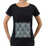 DAMASK1 BLACK MARBLE & ICE CRYSTALS Women s Loose-Fit T-Shirt (Black)