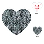 DAMASK1 BLACK MARBLE & ICE CRYSTALS Playing Cards (Heart)