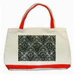 DAMASK1 BLACK MARBLE & ICE CRYSTALS Classic Tote Bag (Red)