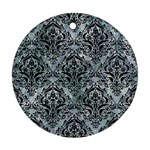 DAMASK1 BLACK MARBLE & ICE CRYSTALS Round Ornament (Two Sides)