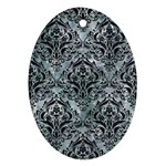 DAMASK1 BLACK MARBLE & ICE CRYSTALS Oval Ornament (Two Sides)