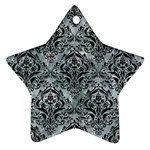 DAMASK1 BLACK MARBLE & ICE CRYSTALS Star Ornament (Two Sides)